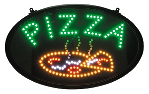 """PIZZA"" LED SIGN OVAL 3 FLASHING PATTERNS"