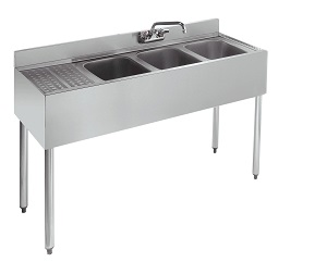 UNDERBAR SINK-3 COMPARTMENT W/ LEFT DRAINBOARD 48WX18-1/2D