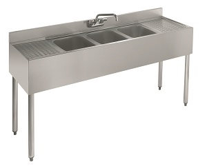 UNDERBAR SINK-3 COMPARTMENT W/ RIGHT & LEFT DRAINBOARD