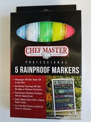 MARKERS-RAIN PROOF-5/PK  BLUE,PINK,WHITE,GREEN,YELLOW