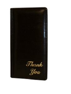 "CHECK PRESENTER-DOUBLE PANEL  5X9-""THANK-YOU""-BLACK"