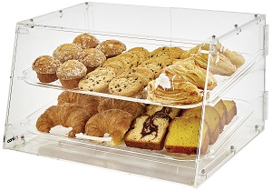 DISPLAY CASE-21X18X12 ACRYLIC 2 TRAYS FRONT & REAR DOORS