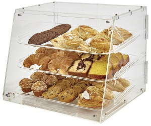 DISPLAY CASE-21X18X16 ACRYLIC  3 TRAY REAR DOOR
