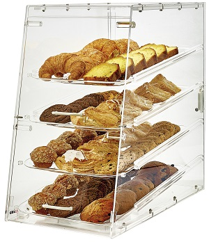 DISPLAY CASE-14X24X24 ACRYLIC 4 TRAYS FRONT & REAR DOORS