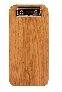 CHECK PRESENTER-SOLID WOOD  4-1/2 X 9 OAK W/SILVER CLIP