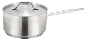 SAUCE PAN W/LID-STAINLESS 4-1/2QT