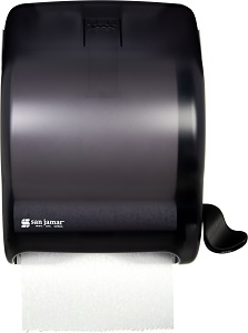 "PAPER TOWEL DISPENSER-LEVER  STYLE 8"" ROLL SIZE BLACK"