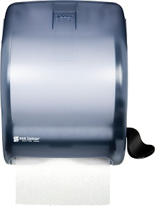 "PAPER TOWEL DISPENSER-LEVER  STYLE 8"" ROLL SIZE ARTIC BLUE"