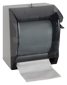 "PAPER TOWEL DISPENSER-W/LEVER FITS 7-1/2""DIA PAPER ROLL"