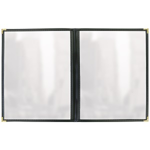 MENU COVER-2 POCKET-4 VIEW  4.25X11-CLEAR/BLACK/GOLD