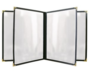 MENU COVER-4 POCKET-8 VIEW  5.5X8.5-CLEAR/BLACK/GOLD