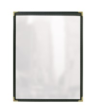 MENU COVER-1 POCKET-2 VIEW 4.5X11-CLEAR/BLACK/GOLD