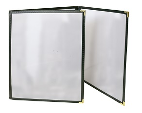 MENU COVER-3 POCKET-6 VIEW 8.5X11-CLEAR/BLACK/GOLD