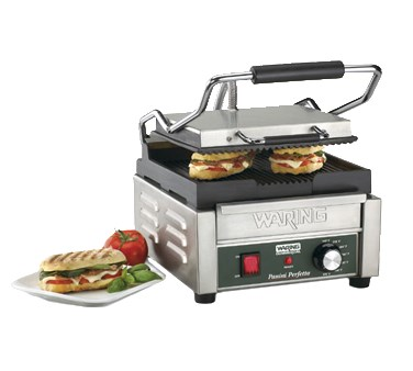 PANINI GRILL-9-1/4 X 9-3/4  COOK SURFACE RIBBED 120V
